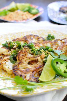 Thai Roasted Cauliflower Steaks - Vegan