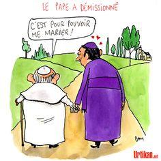 Vote solennel du mariage gay, Benoît XVI jette l'éponge. - Dessin du jour - Urtikan.net