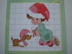 Needlework Cross Stitch Kit A boy giving A poppy Christmas gift  lovely ,simple