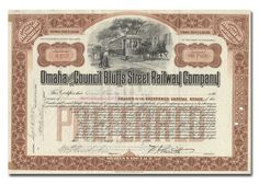 Stock/Bond: Omaha And Council Bluffs Street Railway Company Stock Certificate (Brown)