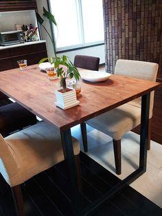 【楽天市場】アイアン テーブル 無垢ダイニングテーブル 幅150×奥行75cm アジャスト付 コの字 U字 アイアン鉄脚:popo furniture