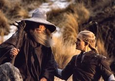 Gandalf & Legolas ~ he looks like he's helping his grandpa down the mountain<< precious elf caring for others, as usual.