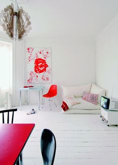 beautiful living space with pink pops