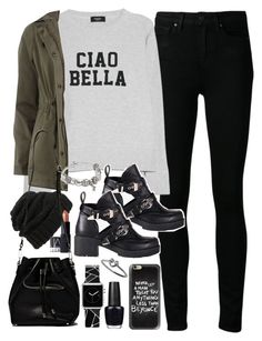 """""""Outfit for meeting up with friends"""" by ferned ❤ liked on Polyvore featuring Paige Denim, MANGO, Leith, Dorothy Perkins, Refresh, NARS Cosmetics, Proenza Schouler, Pandora, Casetify and OPI"""
