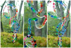 Melted Bead Spiral Mobile :: Melting beads to form a sculpture. They might lose their definition though..?
