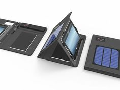 Solar-powered portfolio holds your tablet and charges it with the sun