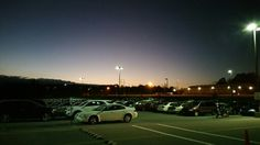 The fall of night over the parking lot at work