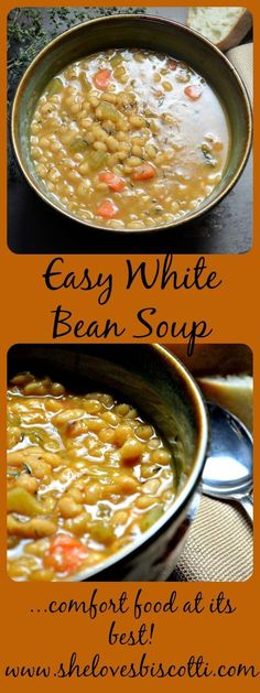 This Easy White Bean Soup is the perfect comfort food recipe for those cold winter evenings. If you are looking for a healthy, hearty and gluten free soup, this creamy one pot white bean soup is the recipe for you. Bean Soup Recipes, Healthy Soup Recipes, Chili Recipes, Vegetarian Recipes, Hamburger Recipes, Recipe For Bean Soup, Easy Bean Recipes, Keto Recipes, White Bean Recipes