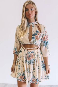 04279c75d0df A Rising Sign Taupe Floral Print Romper - Amazing Lace Neck Choker