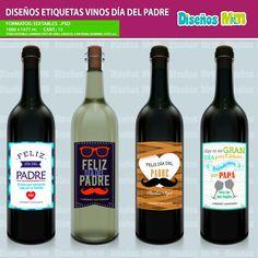 Etiquetas para Botella de Vino DIA DEL PADRE