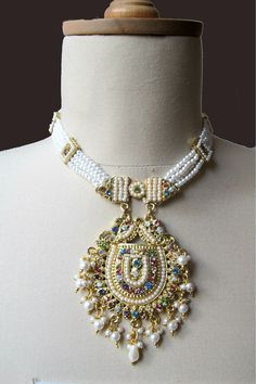 Bridal Set with Pearl Gold Color Indian  Rhinestones by gebridal, $90.00