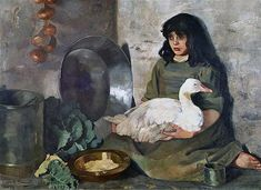 The Goose Girl by Edith Anna Œnone Somerville, [1888]. Crawford Gallery, Public Domain