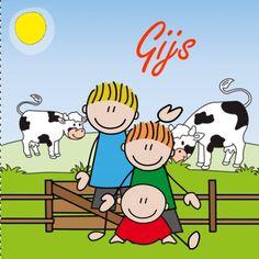 Een vrolijk geboortekaartje voor een zoon of broertje met drie broertjes op de boerderij met koeien en mooi weer.