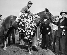 Whirlaway is draped with the floral tribute in the winner's circle at Belmont. Whirlaway is the only Triple Crown winner to win the Travers at Saratoga. While some horses like Secretariat, Gallant Fox and American Pharoah were upset at Saratoga, others, like General Assembly (son of Secretariat), and Arrogate love the track.
