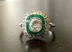 Vintage Art Deco Platinum Diamond Emerald Engagement Ring.