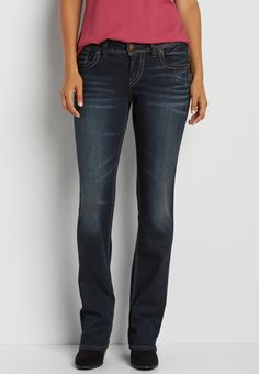 Silver Jeans Co. ® Suki dark wash slim boot jeans with gray stitching (original price, $99.00) available at #Maurices