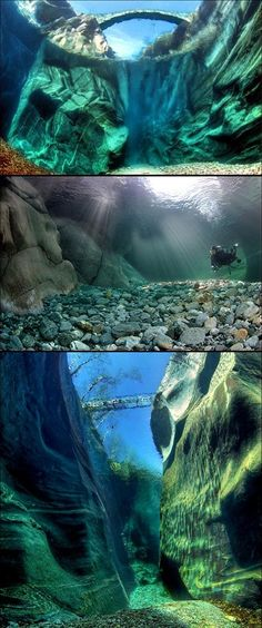 Mind-Blowing Look at the Incredibly Clear Waters of the Verzasca River in Switzerland. I have to learn to scuba dive. I always wanted to learn how to scuba dive! Places Around The World, Oh The Places You'll Go, Places To Travel, Places To Visit, Around The Worlds, Dream Vacations, Vacation Spots, All Nature, Nature Tree