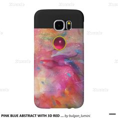 PINK BLUE ABSTRACT WITH 3D RED RUBY GEMSTONE SAMSUNG GALAXY S6 CASES