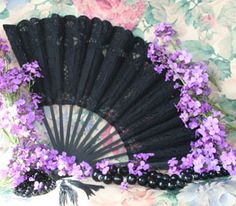 Black Battenburg Fan- w/black pearls, only change the flowers, but this is the plan for my 'bouquet'.