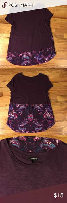 Express Top NWOT Cute Express purple t-shirt top with contrasting hem line in front and back. NWOT Express Tops Tees - Short Sleeve