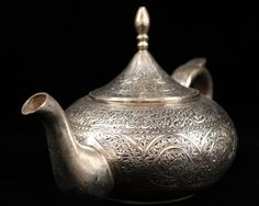 Antique Persian Hand Crafted Silver Tea Pot, Mid 20th C