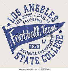 Football sport California typography, t-shirt graphics, vectors