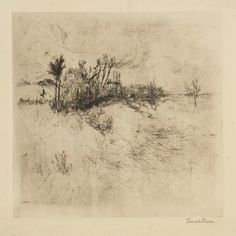 """Visit CAM to see this rendering of a Cincinnati landscape, in """"The Etching Revival from Daubigny to Twachtman.""""  Credit: John Henry Twachtman, """"Cincinnati Landscape,"""" 1879-80, etching. Gift of Frank Duveneck."""