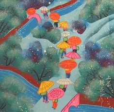 """Umbrellas in the Rain""  by Chinese artist:  Zhang Xuanzheng"