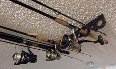 11 Fishing Rod Pole Reel Holder Garage Ceiling Mount Rods Rack Organizer Storage | eBay