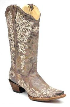 Women's Crater Bone Embroidery Cowboy Boots from AA Callister - Corral Boots are made by the finest leather craftsmen in the world with the finest materials.