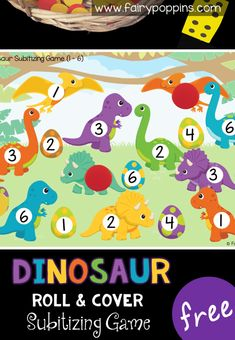 Dinosaur Subitizing Game Free dinosaur math game for kids in preschool or kindergarten. This game helps kids learn to subitize numbers on a six sided dice. It also helps kids to identify the numbers. A perfect addition to math centers or math groups. Number Games Preschool, Dinosaurs Preschool, Math Games For Kids, Dinosaur Activities, Numbers Kindergarten, Educational Games For Kids, Preschool Kindergarten, Fun Math, Preschool Crafts