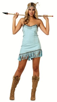 American Indian Blue Pocahontas Adult Costume Dress Women Small Medium Large XL #Dress