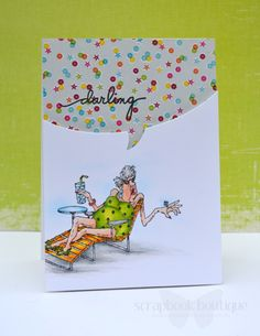 Edna from Art Impressions Golden Oldies line. Darling! Handmade card.