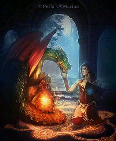 """Dragons: """"Dragon Master,"""" by PerlaMarina, at deviantART. Fantasy Dragon, Dragon Art, Magical Creatures, Fantasy Creatures, Mythological Creatures, Fantasy World, Fantasy Art, Dragon Occidental, Dragons"""