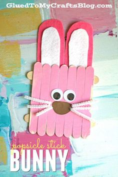 Easter crafts With Popsicle Sticks - Popsicle Stick Easter Bunny Kid Craft Rabbit Crafts, Bunny Crafts, Glue Crafts, Easy Crafts, Sewing Crafts, Popsicle Stick Crafts For Kids, Craft Stick Crafts, Preschool Crafts, Popsicle Sticks