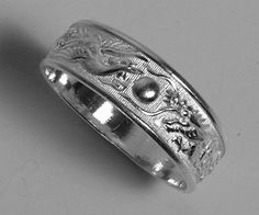 Details About Sterling Silver Dragon Phoenix Rings Wedding Band