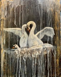 """Josephine Close ✨ on Instagram: """"Nocturne, 2020, ink, wax, gold and diamond dust. 22x30"""" . . . . #nocturnepainting #nocturne #swanpainting #inkpainting #worksonpaper…"""" Swan Painting, Ink Painting, Gothic Art, Nocturne, Mystery, Wax, Diamond, Gold, Beautiful"""