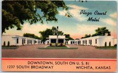 Wichita-Kansas-Postcard-PLAZA-COURT-MOTEL-Highway-81-Roadside-Linen-c1950s