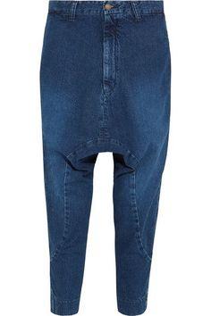 Bassike - Super Lo Slung Cropped Boyfriend Jeans - Blue - 29