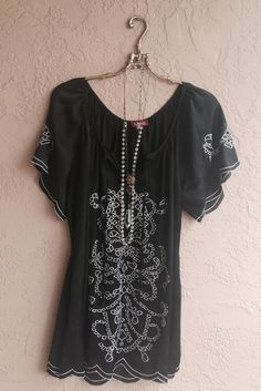 75 off summer sale Black embroidered gypsy tunic for by BohoAngels, $20.00