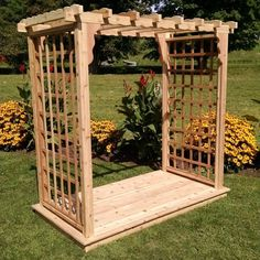 A & L Furniture Lexington 7.5 ft. Cedar Arbor with Deck - 1418C-UNFINISHED