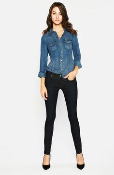 denim shirt and black skinnies...
