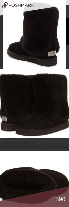 UGG- Black Suede & Shearling Cuffed Boot Gently worn with lots of life left! Black suede and shearling inside and on cuff. UGG Shoes Ankle Boots & Booties