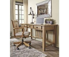Shop Trishley Casual Light Brown Fabric Solid Wood Desk & Chair Set with great price, The Classy Home Furniture has the best selection of to choose from Home Office Desks, Home Office Furniture, Office Decor, Furniture Design, Furniture Sets, Desk And Chair Set, Desk Chair, Ashley Home, Solid Wood Desk