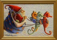 Buy THE SEAHORSES OF SANTA CLAUS- ( framed )., Acrylic painting by Carlo Salomoni on Artfinder. Discover thousands of other original paintings, prints, sculptures and photography from independent artists.
