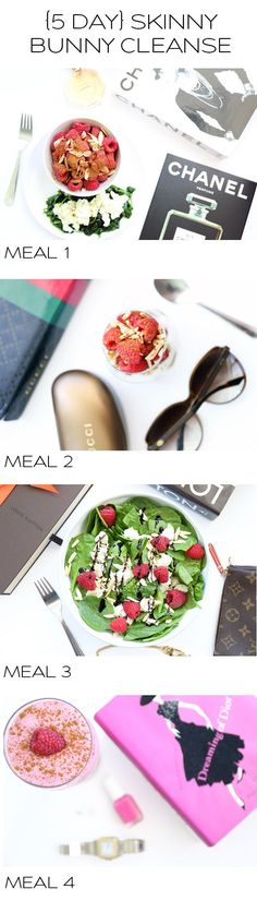 {5 Day} Skinny Bunny Cleanse - Meal 1: Breakfast scramble and berries, Meal 2: Layered Greek yogurt and raspberry parfait, Meal 3: Spinach salad, Meal 4: Dessert Smoothie