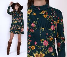 70's Green Floral Print Long Sleeves EMPIRE by MamaStoneVintage