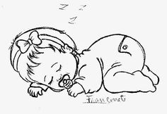 desenho bebe menina dormindo para pintar