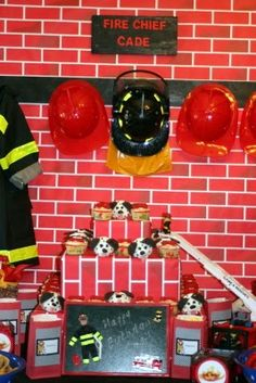 Fireman Party Table Back Drop and Cupcake Stand