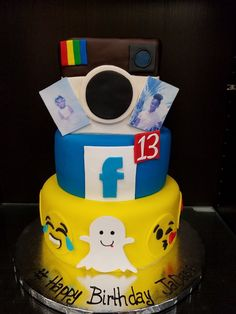 Social Media Cake; Facebook, Snapchat, Instagram